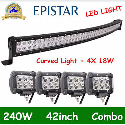 42inch 240W Curved LED Light Bar Combo+4X 4'' 18W CREE Offroad Truck Boat 12V24V
