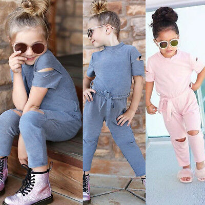US Toddler Kids Baby Girl Romper Jumpsuits Playsuit Outfits Ripped Pants Clothes