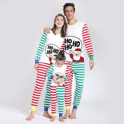 USA Christmas Family Matching Santa Pajamas Set Adult Kids Sleepwear Nightwear