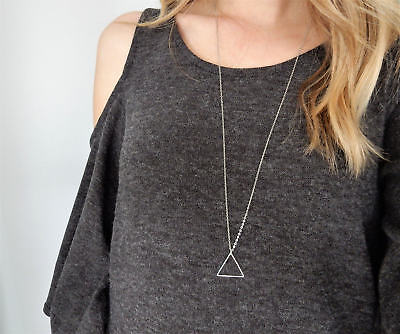 Geometry Simple Triangle pendant Necklace Delicate Minimal long chain necklace