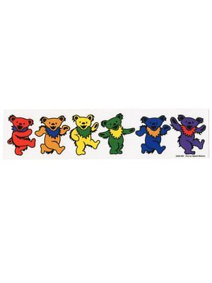 "10.25"" x 2.5"" Rainbow Grateful Dead Dancing Bears Sticker"