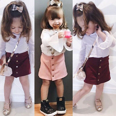 US Princess Toddler Kids Baby Girls Button A Line Skirts Party Slim Dress 6M-5T