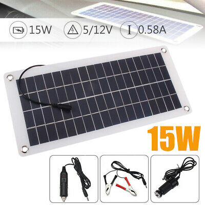 15W 12V/5V Solar Panel Waterproof USB Car Battery Charger Camping Motorhome