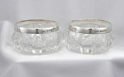 c1911 Antique Sterling Silver Rim Pair Glass Open Salt Dips Cellar Dish English