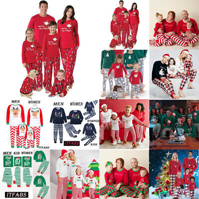 12 STYLES! Family Matching Christmas Pajamas Set Women Kids Sleepwear Nightwear