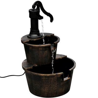 Antique Design Indoor Garden Patio Two Barrel Water Fountain with Pump - Bronze