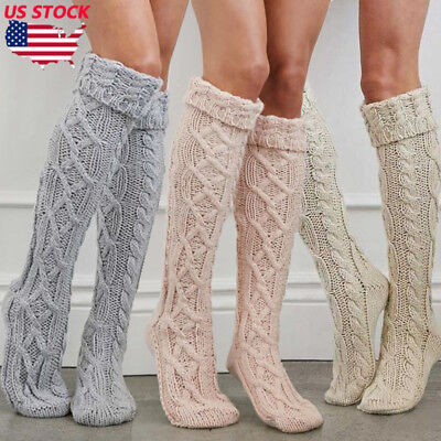 Womens Winter Cable Knit Over Knee Long Boot Thigh-High Warm Socks Leggings