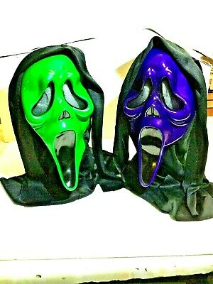 Official Scream Metallic Coloured Halloween Adult Kids Hooded Ghost Face Mask