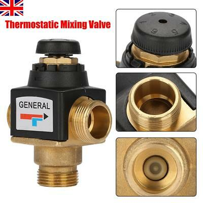 3 Way DN20 Male Thread Brass Thermostatic Mixing Valve for Solar Water Heater UK