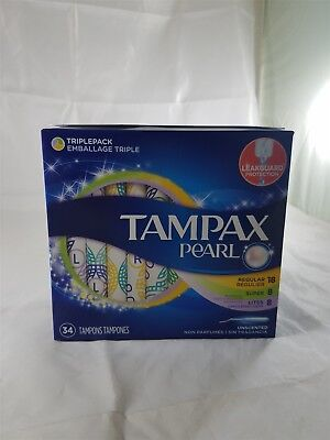 Tampax Pearl 18 Regular 8 Super 8 Lites Unscented 34 Tampons NIP