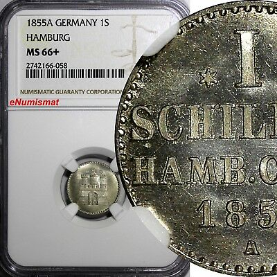 German States HAMBURG 1855 A 1 Schilling NGC MS66+ KM# 586 Ex.Horn Collection