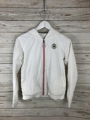 CONVERSE Hooded Windbreaker - Size Age 13-15Yrs- White - Great Condition - Girls