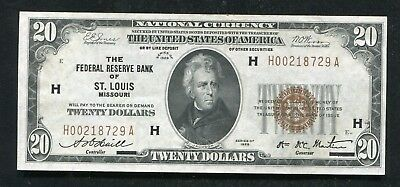 Fr. 1870-H 1929 $20 Frbn Federal Reserve Bank Note St. Louis, Mo About Unc