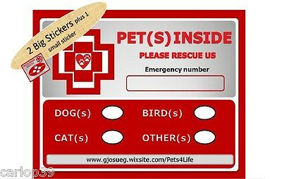 2 Safety Emergency, Rescue or Fire Stickers. Pet Alert warning.Protect your pets