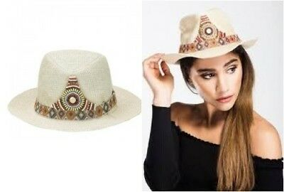 HF Woven Embellished Beaded Fedora Hat in Cream (one size) rst98