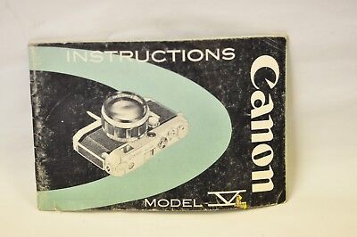 Canon model V instruction book for their rangefinder camera. 31 pages. English