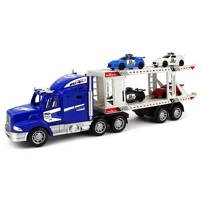 Velocity Toys City Police Transporter Trailer 1:32 Friction Toy Truck (Colors