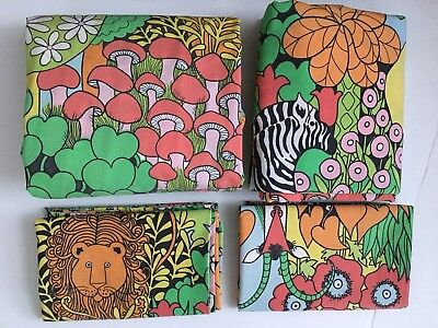 Vtg 70s Mod Utica Colorful Jungle Safari Animal Print FULL 4PC Sheet Set! Used