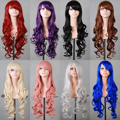 80cm Damen Anime Lange lockige gewellte Haar Party Cosplay volle Perücke Wig Pop