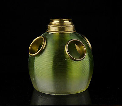 Antique Art Nouveau faded green striped glass Candle holder, light, bowl