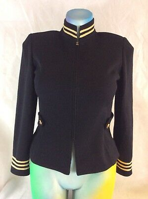 ST JOHN by MARIE GRAY Santana KNIT Jacket BLAZER 6  BLACK Gold Metallic Stripe