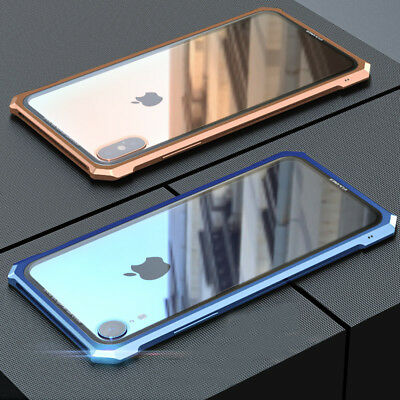 Luxury Metal Bumper+Tempered Glass Back Case Cover For iPhone XS MAX/XR/7 8 Plus