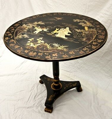 Chinese Table Chinoiserie Tilt Top Black Lacquer Pedestal