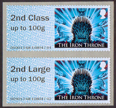GB 2018 Post & Go u/m mnh stamps x 2 Game of Thrones 2nd class + 2nd Large 100g
