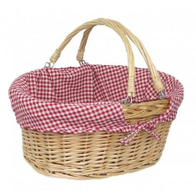 Wicker Shopping Picnic Hamper Basket with Fold Flat Handles & Lining Easter Xmas