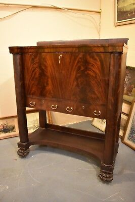 Antique Empire Style Drop Front Secretary Desk in Flame Mahogany Paw Feet