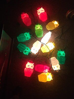 Vintage Plastic Mold Owl Party String Lights Rv Camping Yard 2 Sets Of 7