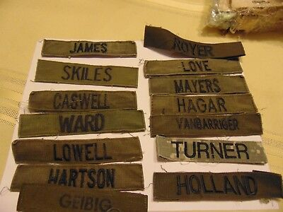 Military Patch Us Army Name Tape Tag Sew On Set Of 14 James Ward Royer Turner