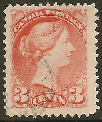 Canada 37a used 3c rose Small Queen –Cat $17.50