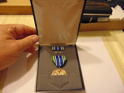 Genuine Full Size Us Military Medal Original Case Army Achievement Ribbon Tie Cl
