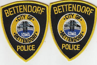 (2) Bettendorf Iowa Ia Police Shoulder Patches Patch