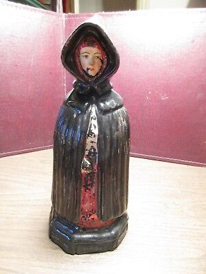 ANTIQUE REDWARE PAINTED DECANTER - Lady in Black Cloak - Signed S. MIGUEL ACORES