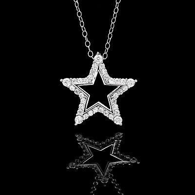 0.50CT Created Diamond Open Star Pendant 14K Solid White Gold Charm