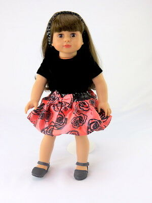 """Sequins And Roses Skirt Set Fits 18"""" American Girl Doll Clothes"""