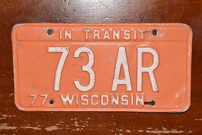 RARE Authentic 1977, 77 WISCONSIN, WISC, WI IN TRANSIT License Plate, Tag 73 AR