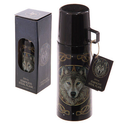 Lisa Parker Wolf Stainless Steel Flask Midnight Companion - Fantasy/gothic Gift