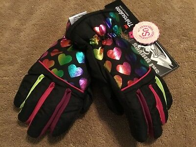 New SO Girls S/M Rainbow Foil Heart Print ski gloves Black