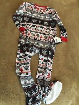 New Cuddl Duds  4T Fair Isle One-Piece Fleece Sleeper Pajamas red gray Bear Snow
