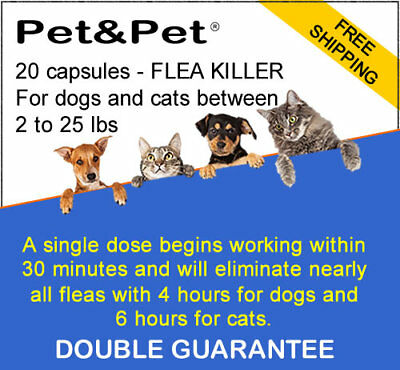 FLEA CONTROL - 20 capsules - Flea Control (killer) for dogs & cats 2 to 25 lbs