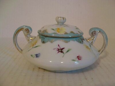Vintage Handled Sugar Bowl With Lid White Trimmed In Blue With Flowers