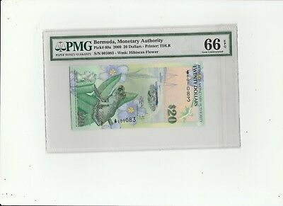 2009 The Bermuda Monetary Authority Twenty Dollars PMG 66 Gem-Uncirculated