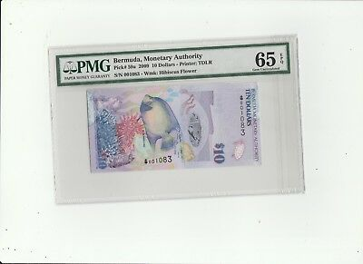 2009 The Bermuda Monetary Authority Ten Dollars PMG 65  Gem-Uncirculated