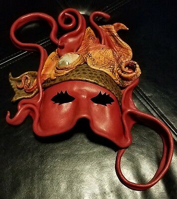 Emi Handcrafted Mexican Leather and sea shell mask