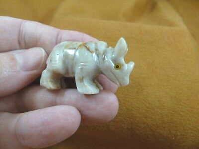 y-rhi-14 little white RHINO SOAPSTONE gemstone Stone FIGURINE I love rhinoceros