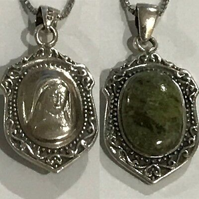 Vintage Ireland Sterling Silver Connemara Marble & Marcasite Holy Mother Pendant