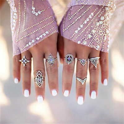 7pcs Women Geometric Carved Bohemian Crystal Ring Set Vintage Hollow Ring B